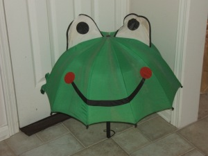 It is bad luck to open an umbrella in the house. If it's a frog umbrella, you're probably doomed.