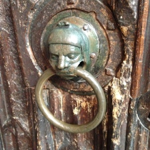 The sanctuary ring on the door of Holy Trinity, Stratford-upon-Avon. Dating from the 1200s, one who touched the ring could claim 37 days' sanctuary from the church which now holds Shakespeare's tomb.